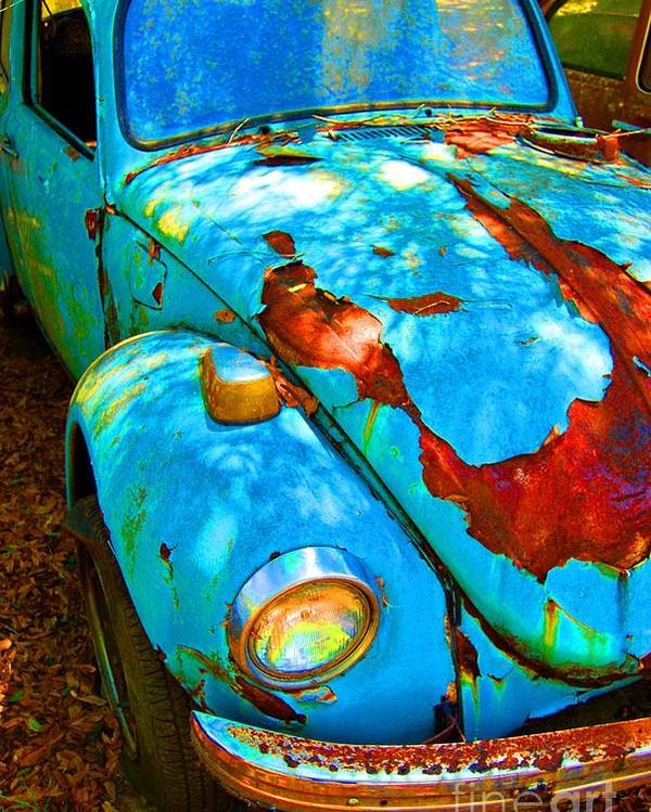 Vw Poster featuring the photograph Rusty Blue by Kendra Longfellow