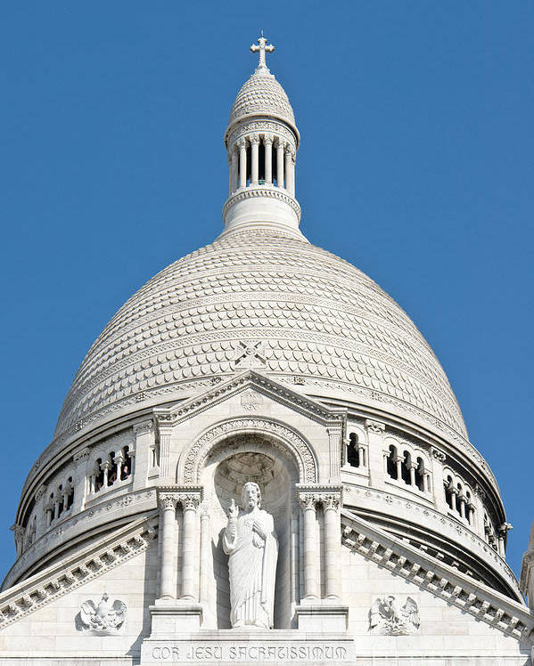 Sacre Poster featuring the photograph Sacre Coeur Dome by Fabrizio Ruggeri
