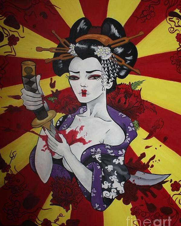Sacrificial Geisha Poster featuring the painting Sacrificial Geisha by Laura Mancini