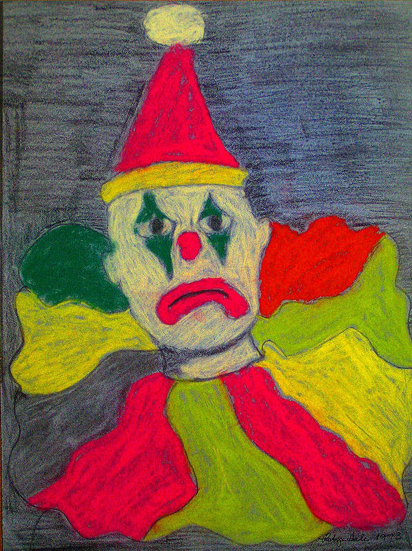 Pastel Poster featuring the pastel Sad Clown by Robyn Louisell