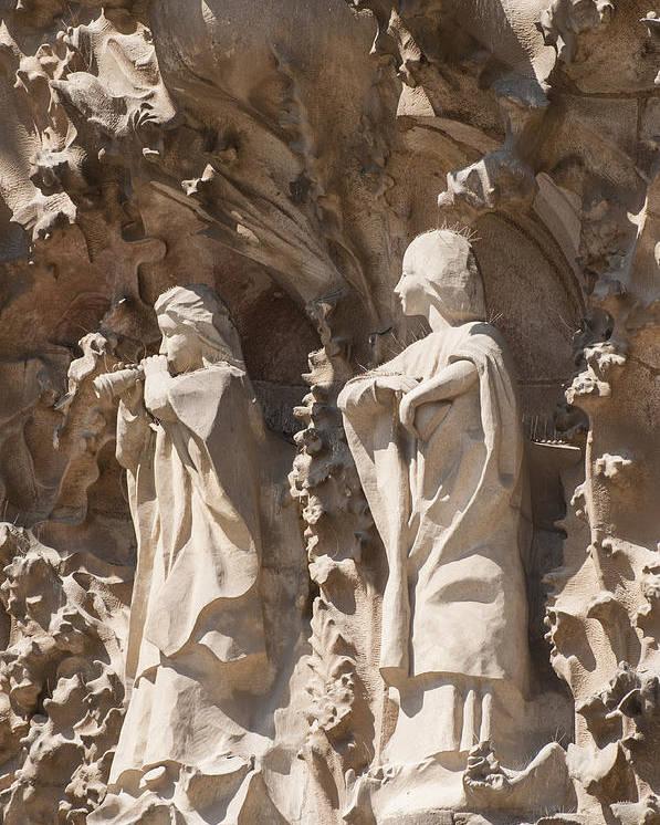 Sagrada Familia Poster featuring the photograph Sagrada Familia Nativity Facade Detail by Matthias Hauser
