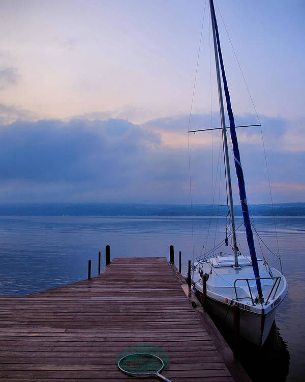 Boat Poster featuring the photograph Sailboat And Dock by Steven Ainsworth