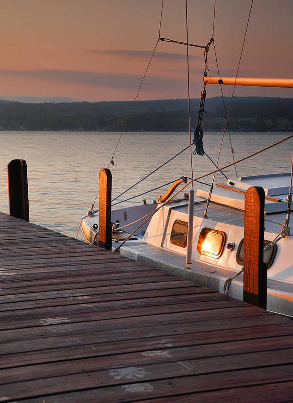 Dawn Poster featuring the photograph Sailboat Sunrise II by Steven Ainsworth