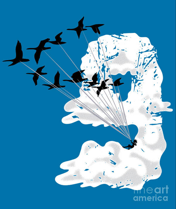 Pop Art Poster featuring the digital art Sailing Cloud Nine by Laura Brightwood