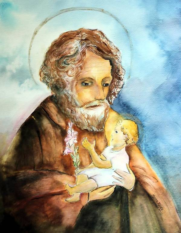 Catholic Art Poster featuring the painting Saint Joseph And Child by Myrna Migala