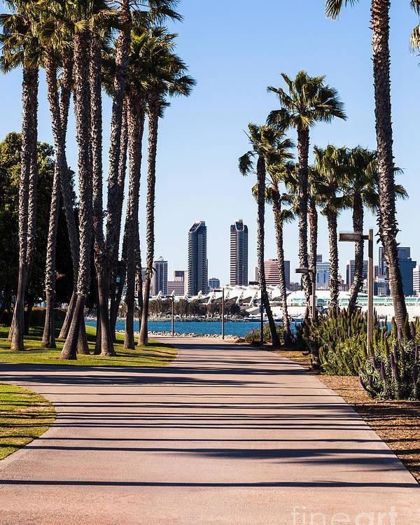 2012 Poster featuring the photograph San Diego Skyline With Coronado Island Bayshore Bikeway by Paul Velgos