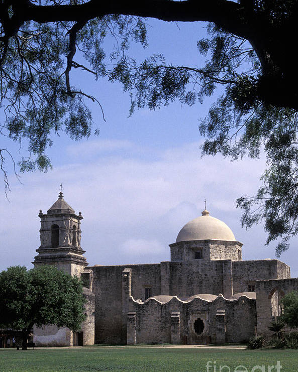 Texas Poster featuring the photograph San Jose Mission San Antonio Texas by John Mitchell