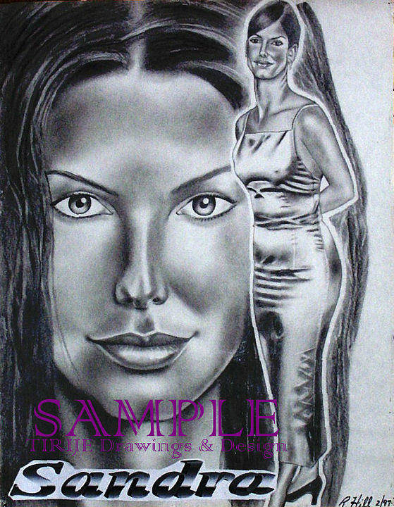 Portraits Poster featuring the drawing Sandra Bullock by Rick Hill