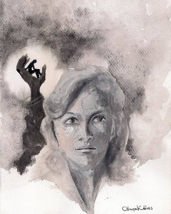 Woman Portrait Poster featuring the painting Sans Pitie by Ahmed Abbas