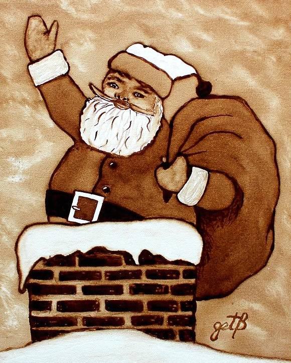 Santa Coffee Art Poster featuring the painting Santa Claus Gifts Original Coffee Painting by Georgeta Blanaru
