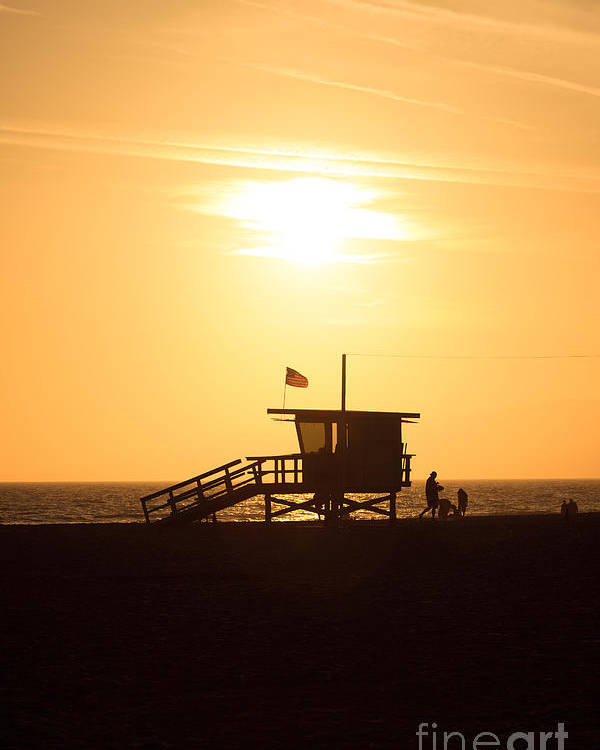 America Poster featuring the photograph Santa Monica California Sunset Photo by Paul Velgos