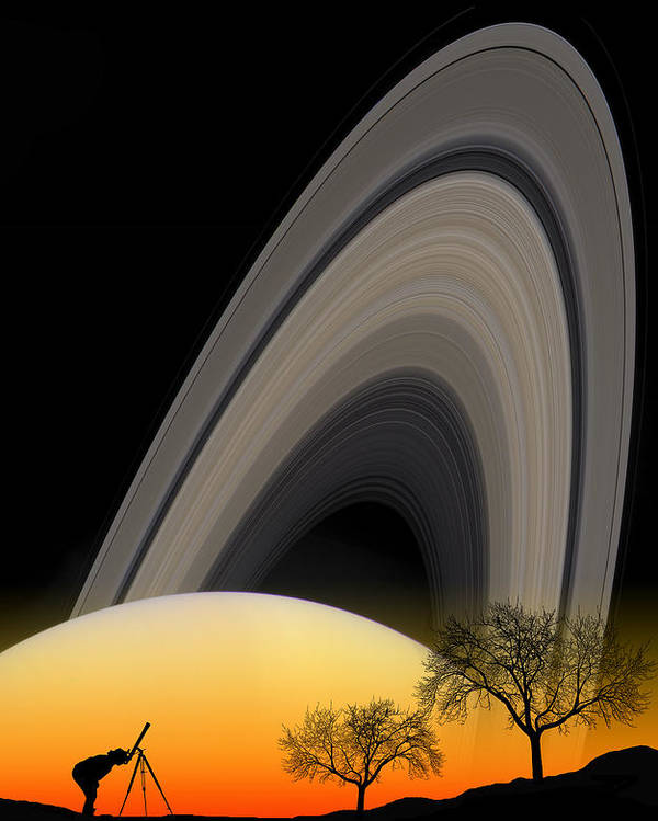 Composite Poster featuring the photograph Saturn View 2 by Larry Landolfi