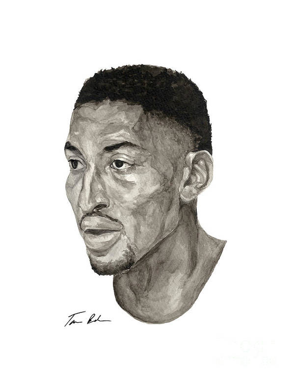 Scottie Pippen Poster featuring the painting Scottie Pippen by Tamir Barkan