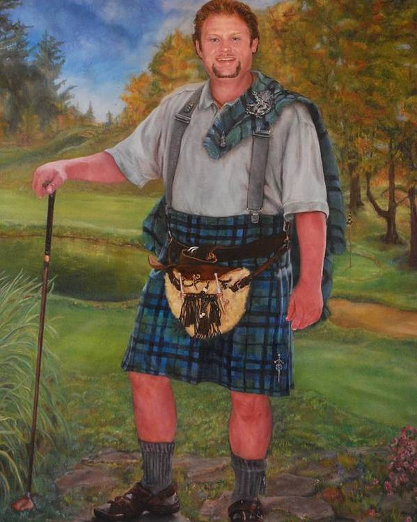 Commissions Available Poster featuring the painting Scottish Golfer by Phyllis Barrett