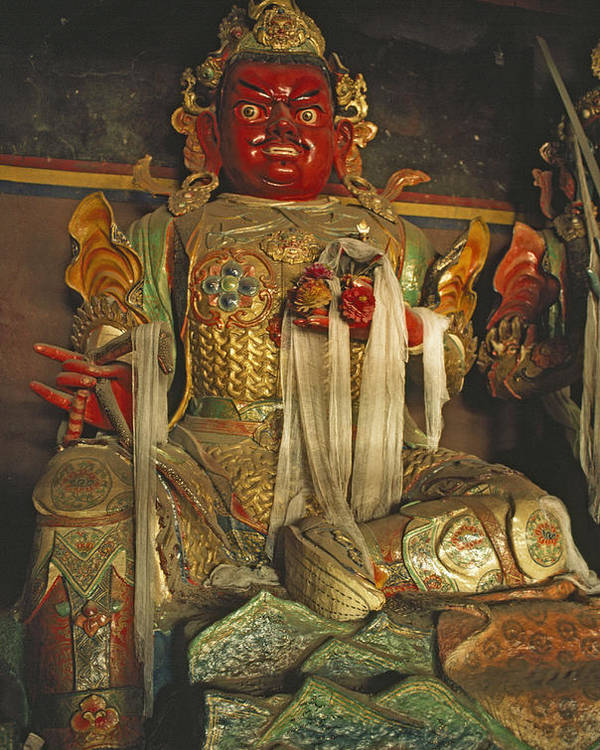 Tibetan Buddhism Poster featuring the photograph Sculpture Of Wrathful Protective Deity by Gordon Wiltsie