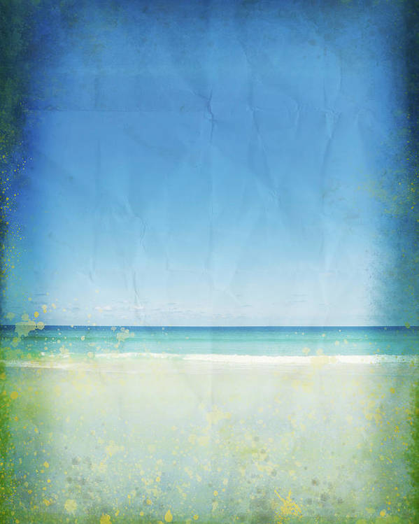 Abstract Poster featuring the photograph Sea And Sky On Old Paper by Setsiri Silapasuwanchai