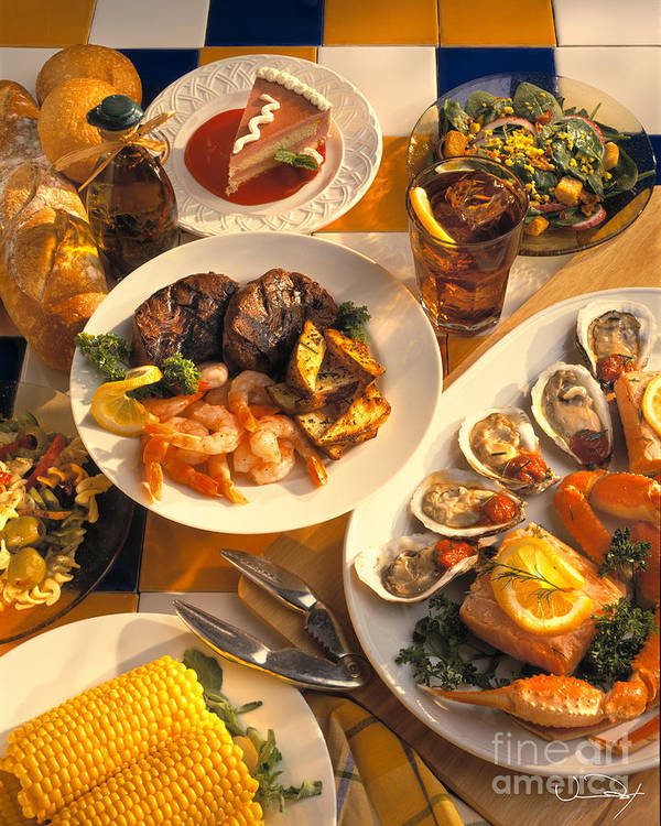 Food Poster featuring the photograph Seafood And Steak Buffet Dinners by Vance Fox