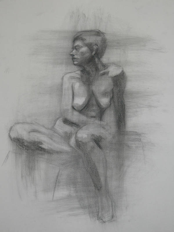 Poster featuring the drawing Seated Female Nude by Julia Fine