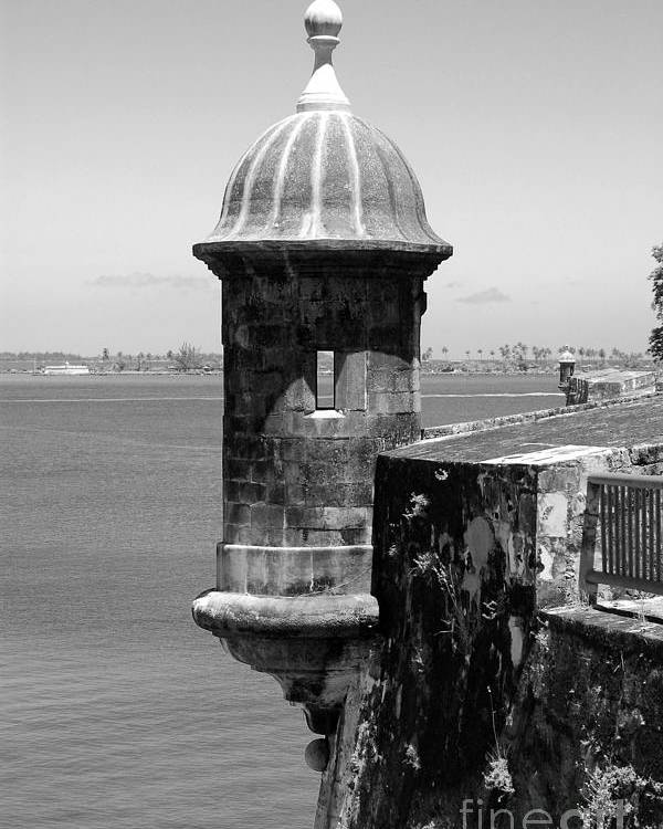 Travelpixpro Poster featuring the photograph Sentry Tower Castillo San Felipe Del Morro Fortress San Juan Puerto Rico Black And White by Shawn O'Brien