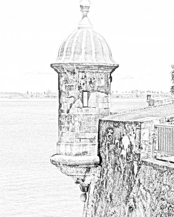 Travelpixpro Puerto Rico Poster featuring the digital art Sentry Tower Castillo San Felipe Del Morro Fortress San Juan Puerto Rico Line Art Black And White by Shawn O'Brien