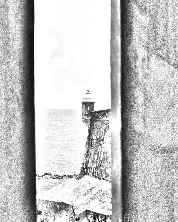 El Morro Poster featuring the digital art Sentry Tower View Castillo San Felipe Del Morro San Juan Puerto Rico Black And White Line Art by Shawn O'Brien