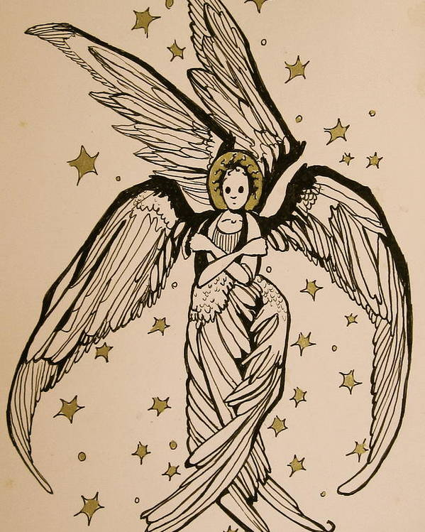 Seraphim Angel Poster featuring the drawing Seraphim by Jackie Rock