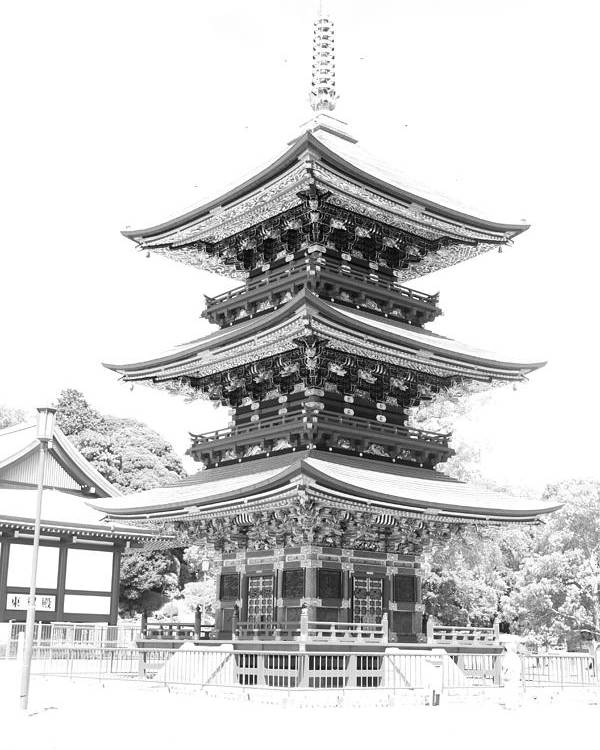 Japanese Temple Poster featuring the photograph Serene Temple by Anthony Chia-bradley