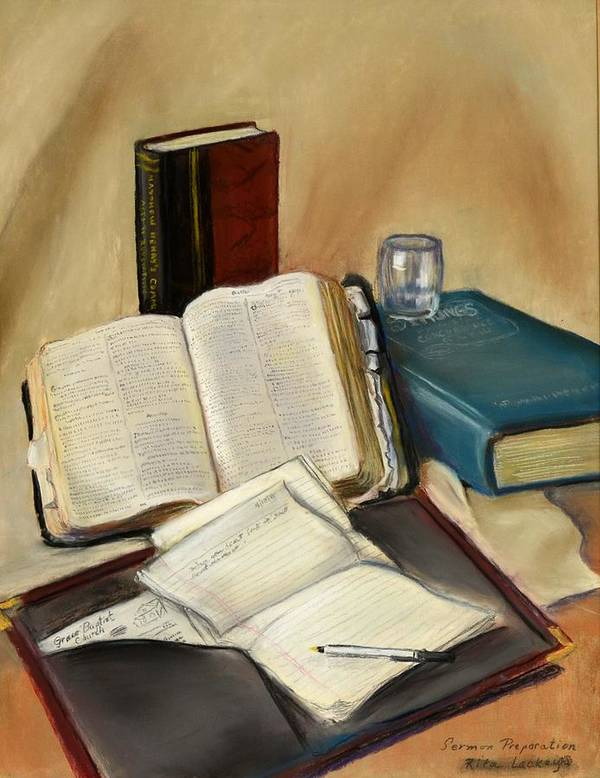 Old Open Bible Poster featuring the pastel Sermon Preparation by Rita Lackey