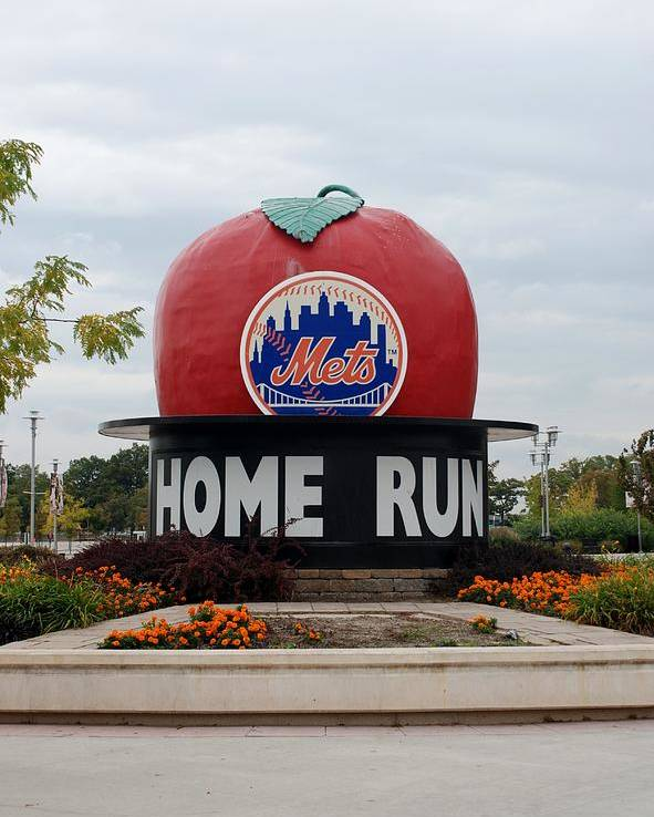 Shea Stadium Poster featuring the photograph Shea Stadium Home Run Apple by Rob Hans