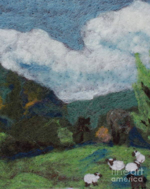 Landscape Poster featuring the tapestry - textile Sheep In The Field by Nicole Besack