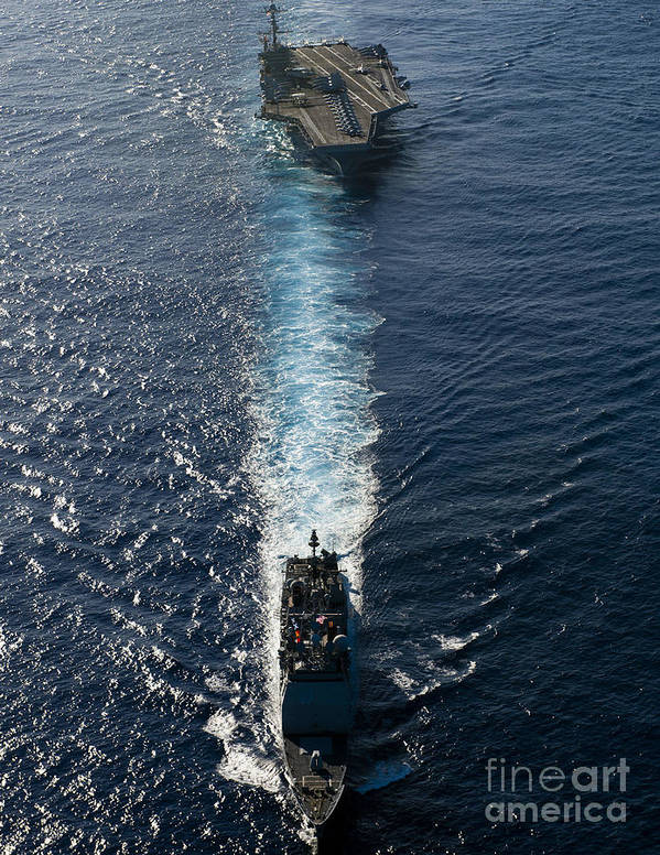 Uss John C Stennis Poster featuring the photograph Ships From The John C. Stennis Carrier by Stocktrek Images
