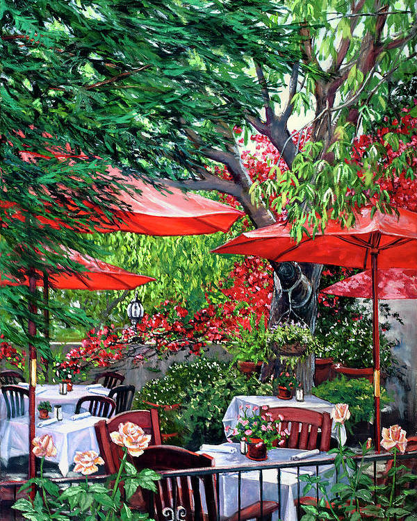 San Juan Capistrano Poster featuring the painting Sidewalk Cafe by Lisa Reinhardt