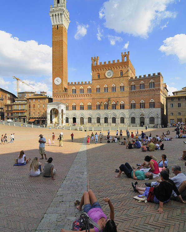 Siena Poster featuring the photograph Siena Italy - Piazza Del Campo by Matthias Hauser
