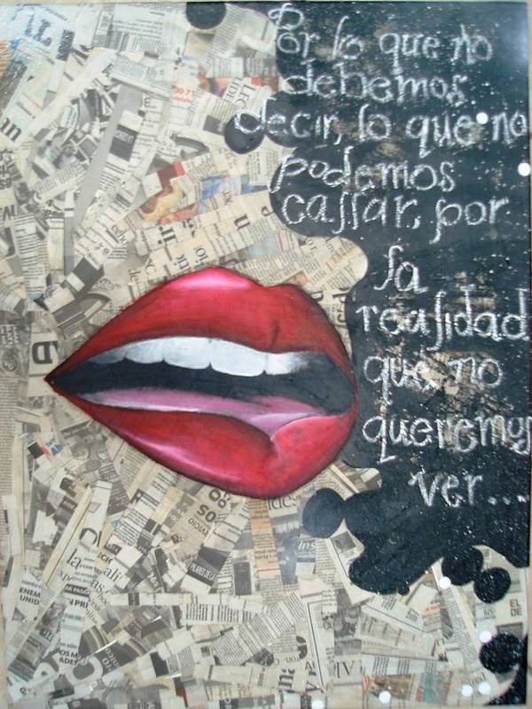 Mouth Poster featuring the mixed media Silent Thoughts by Sandra Navarro