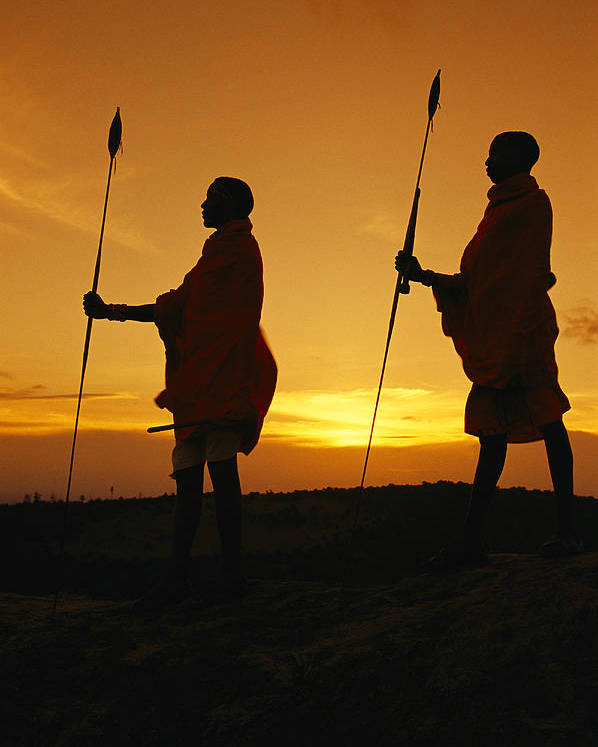 Africa Poster featuring the photograph Silhouetted Laikipia Masai Guides by Richard Nowitz