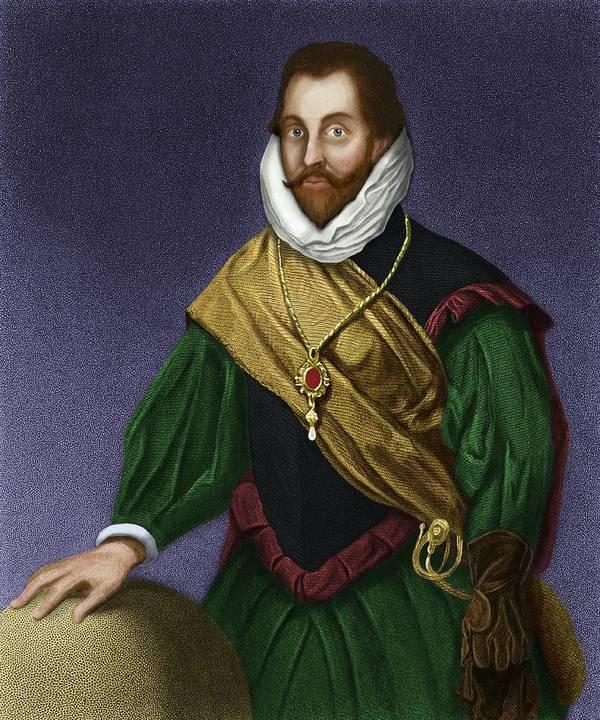 Francis Drake Poster featuring the photograph Sir Francis Drake, English Explorer by Maria Platt-evans