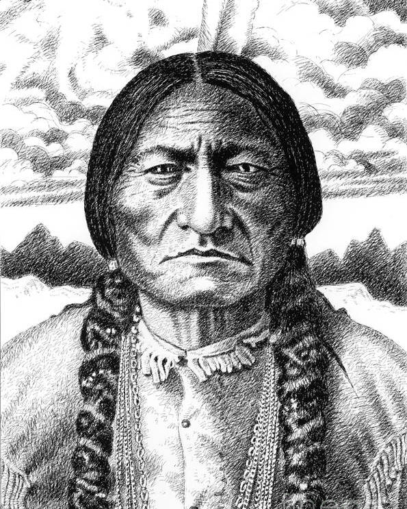 Jim Bridger Poster featuring the drawing Sitting-bull by Gordon Punt