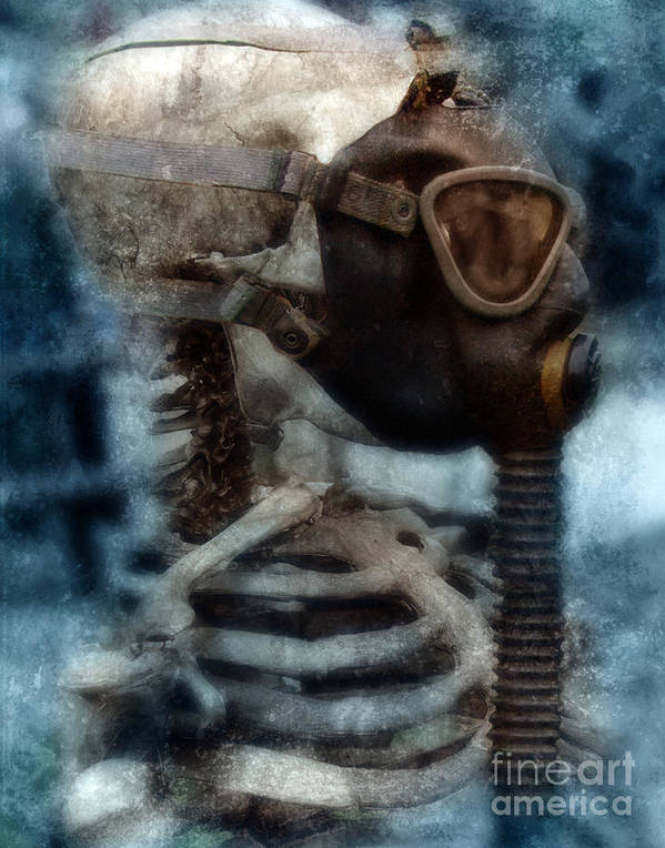 Gas Mask Poster featuring the photograph Skeleton In Gas Mask by Jill Battaglia