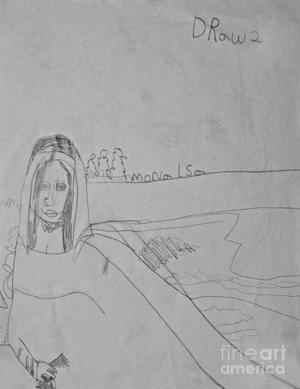 Detailed Poster featuring the drawing Sketched Expression Series - Mona Lisa by Stephanie Ward