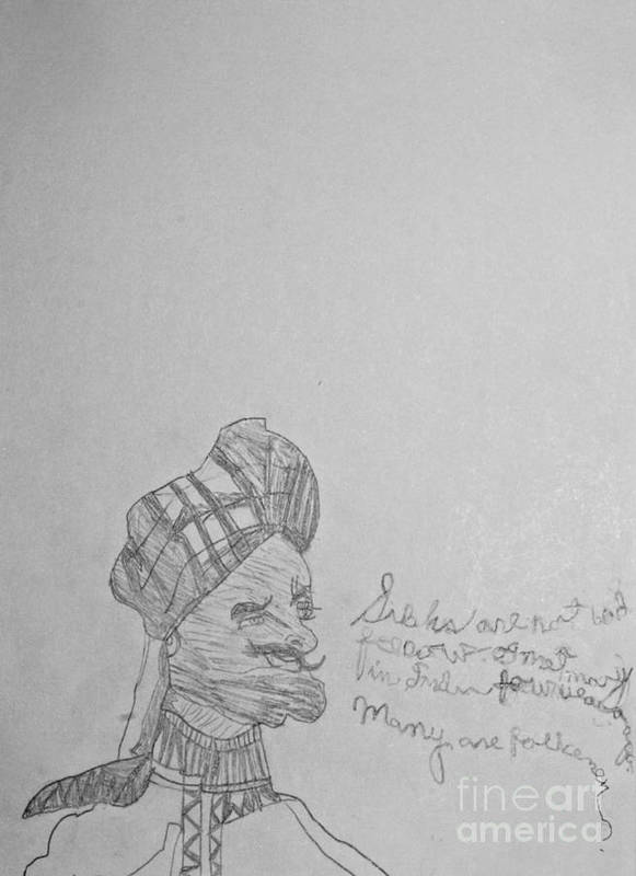 Complex Poster featuring the drawing Sketched Expression Series - Northwest Indian Sikh by Stephanie Ward