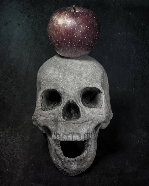 Skull Poster featuring the photograph Skull And Apple by Joana Kruse