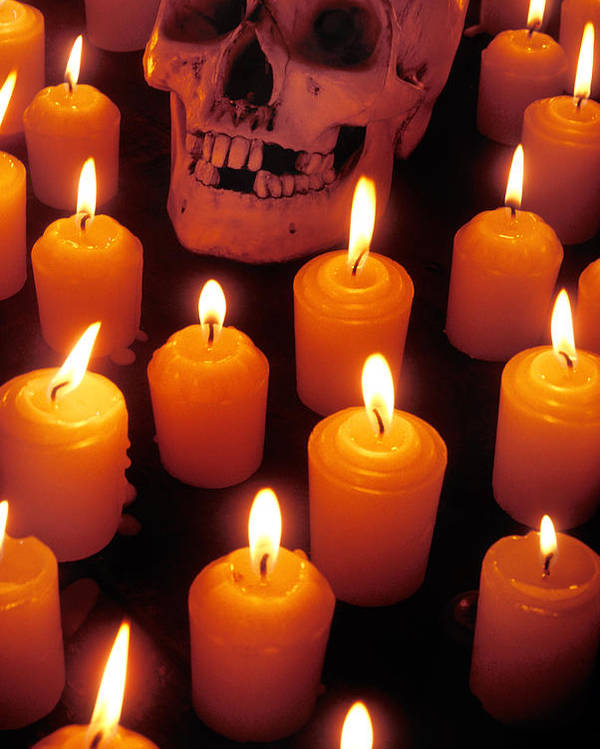 Skull Poster featuring the photograph Skull And Candles by Garry Gay