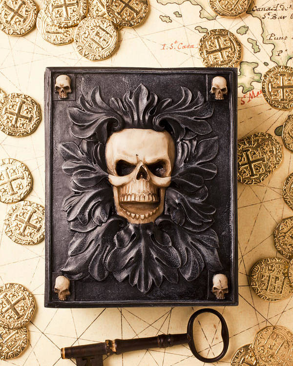 Skull Box Poster featuring the photograph Skull Box With Skeleton Key by Garry Gay