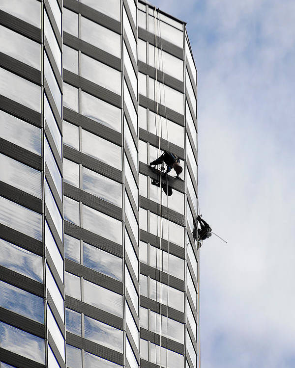 Chicago Poster featuring the photograph Skyscraper Window-washers - Take A Walk In The Clouds by Christine Till