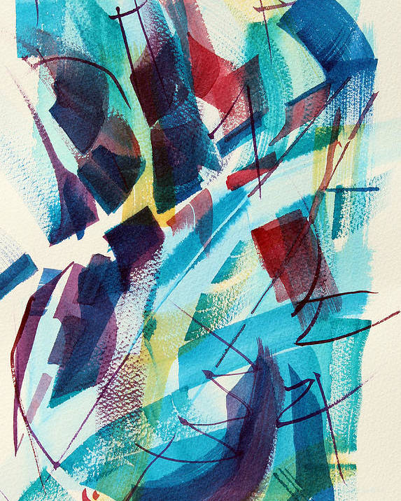 Watercolor Abstract Poster featuring the painting Slice. by Josh Chilton