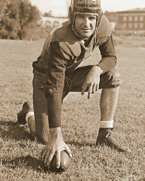Slingin' Sammy Baugh 1937 Sepia Poster featuring the photograph Slingin' Sammy Baugh 1937 Sepia by Padre Art