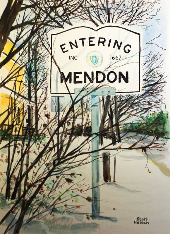 Mendon Ma Poster featuring the painting Snow Day by Scott Nelson