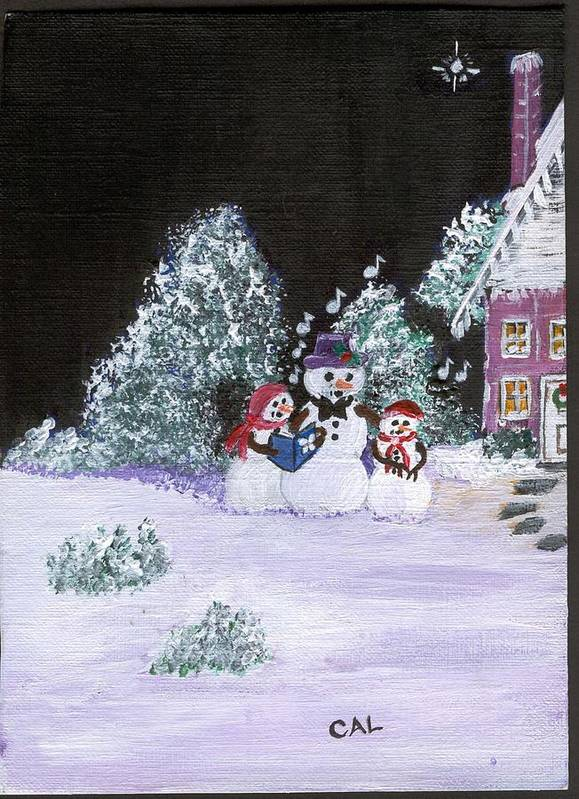 Landscape Poster featuring the painting Snow Family Singers by Carol Lunsford