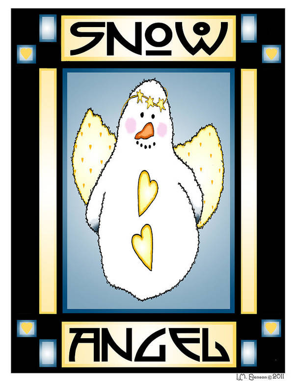 Snowman Poster featuring the digital art Snowman Angel 1 by Lynn Evenson