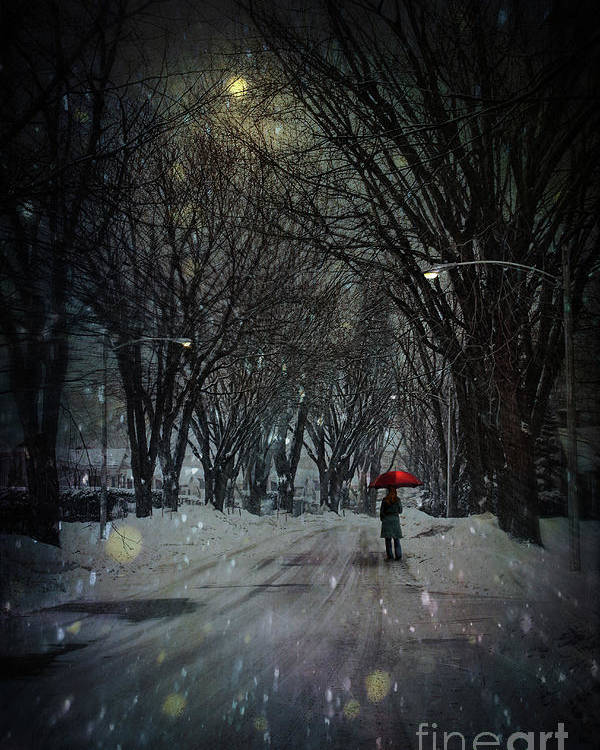 snowy winter scene with woman walking at night poster by sandra